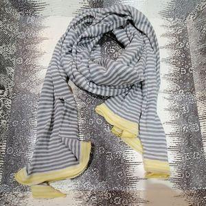 Boden Cotton Stripey Scarf Gray Yellow White
